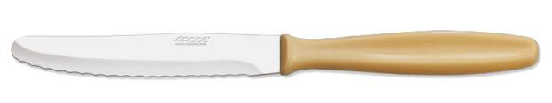 cuchillo mesa infantil doble filo mango plastico amarillo
