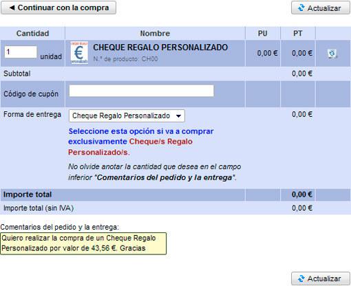 Cheques regalo en Rincón del Zurdo